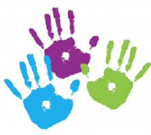kids hands prints in paint